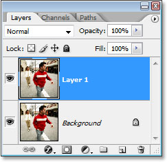 Photoshop's Layers palette now showing the duplicate of the Background layer, named 'Layer 1'.