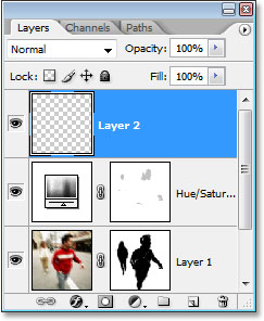 Photoshop's Layers palette showing the new blank layer at the top.