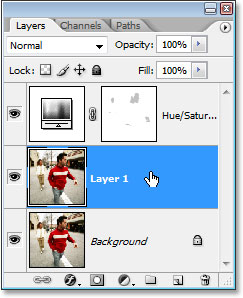 Clicking on 'Layer 1' in the Layers palette to select it.