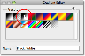 The Gradient Editor in Photoshop. Image © 2010 Photoshop Essentials.com.