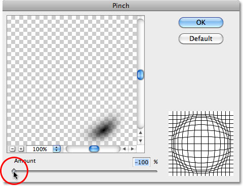 The Pinch filter dialog box. Image © 2010 Photoshop Essentials.com.
