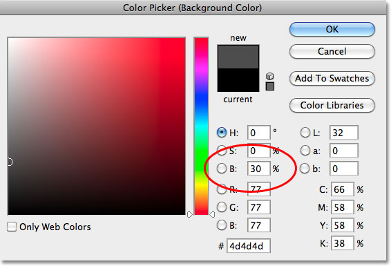 Memilih abu-abu gelap di Color Picker di Photoshop. Image © 2010 Photoshop Essentials.com.