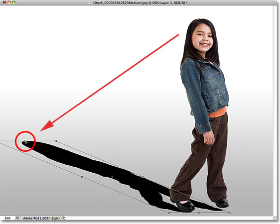 Distorting the shadow into shape. Image © 2010 Photoshop Essentials.com.