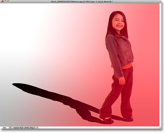 Sebuah merah untuk transparan gradien Quick Mask di Photoshop. Image © 2010 Photoshop Essentials.com.
