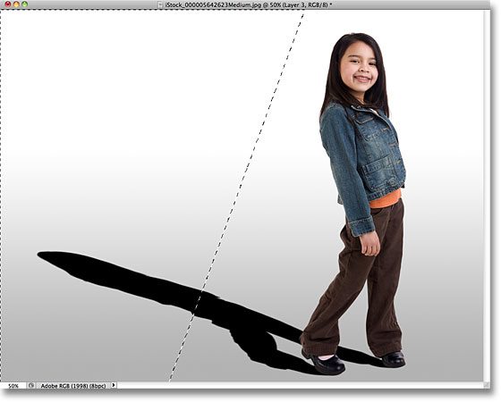 A selection outline appears in place of the Quick Mask overlay. Image © 2010 Photoshop Essentials.com.