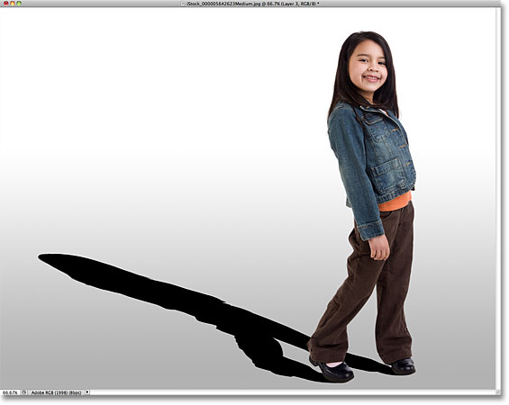 The shadow has been distorted. Image © 2010 Photoshop Essentials.com.