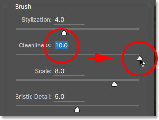 Increasing the Cleanliness option in the Oil Paint filter. Image © 2016 Photoshop Essentials.com.
