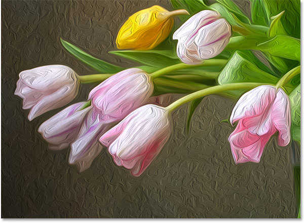 The oil painting effect with Cleanliness set to its maximum value. Image © 2016 Photoshop Essentials.com.