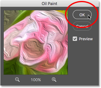 Clicking OK to apply the Oil Paint filter. Image © 2016 Photoshop Essentials.com.