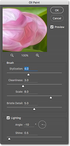 The new Oil Paint filter dialog box in Photoshop CC. Image © 2016 Photoshop Essentials.com.