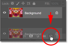 Dragging the Background layer onto the New Layer icon.