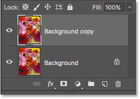 The Layers panel showing the Background copy layer above the original.