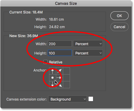 The Canvas Size dialog box in Photoshop.