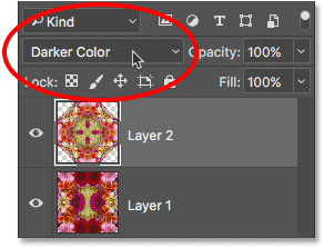 Changing the blend mode of the top layer to Darker Color.
