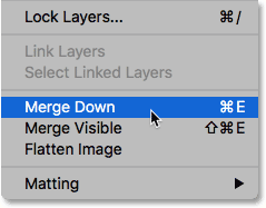 The Merge Down command in Photoshop.