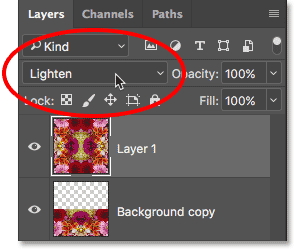 Changing the blend mode for Layer 2 to Lighten.