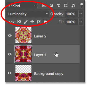 Selecting Layer 1 and changing its blend mode to Luminosity.