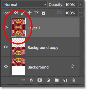 The two original layers are now merged on to a third layer in Photoshop.