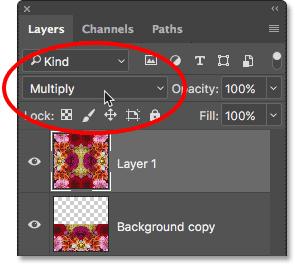 Changing the blend mode for Layer 1 to Multiply.