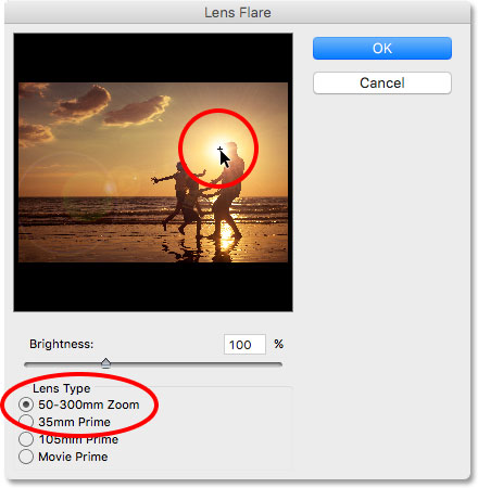 The Lens Flare dialog box in Photoshop.