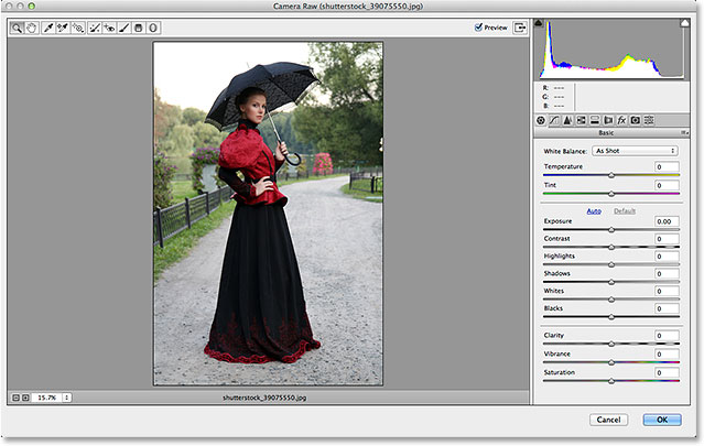 The Camera Raw Filter's dialog box in Photoshop CC.com