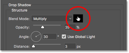 Clicking on the Drop Shadow's color swatch to choose a new color. Image © 2017 Photoshop Essentials.com.