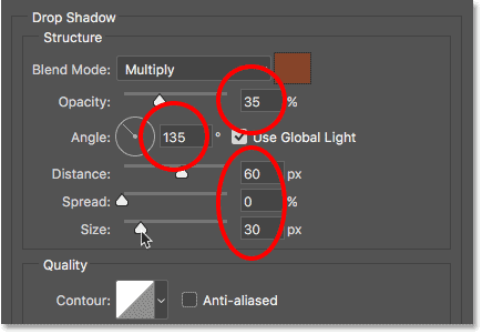 The Drop Shadow options in the Layer Style dialog box. Image © 2017 Photoshop Essentials.com.