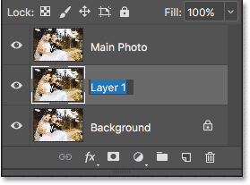 Press Tab to highlight the next layer's name. Image © 2017 Photoshop Essentials.com.