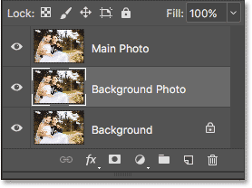 Change the name of 'Layer 1' to 'Background Photo'. Image © 2017 Photoshop Essentials.com.