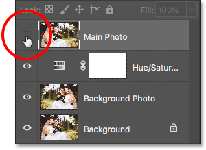 Clicking the visibility icon for the Main Photo layer. Image © 2017 Photoshop Essentials.com.