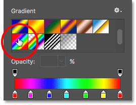 Selecting the Gradient fill type.