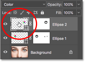 Double-clicking on the Shape layer's thumbnail. Image © 2016 Photoshop Essentials.com.