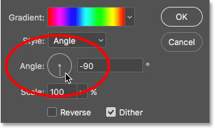 Changing the angle of the gradient. Image © 2016 Photoshop Essentials.com.