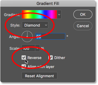 Changing the Style to Diamond and selecting Reverse. Image © 2016 Photoshop Essentials.com.