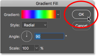 Closing the Gradient Fill dialog box. Image © 2016 Photoshop Essentials.com.