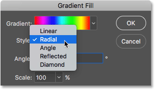 Changing the style of the gradient to Radial. Image © 2016 Photoshop Essentials.com.