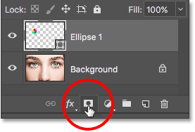 Clicking the Layer Mask icon. Image © 2016 Photoshop Essentials.com.