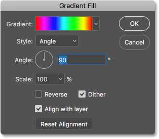 The Gradient Fill dialog box. Image © 2016 Photoshop Essentials.com.