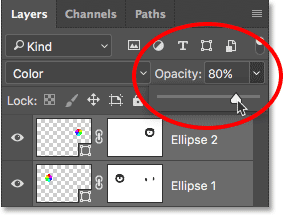 Lowering the opacity of the shape layers. Image © 2016 Photoshop Essentials.com.