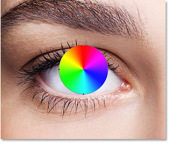 The shape covers the area of the eye we want to colorize. Image © 2016 Photoshop Essentials.com.