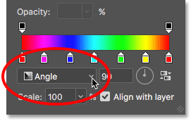Changing the gradient style to Angle. Image © 2016 Photoshop Essentials.com.