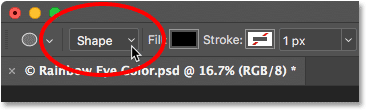 Setting the Tool Mode option in the Options Bar to Shape. Image © 2016 Photoshop Essentials.com.