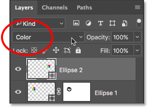 Changing the second shape's blend mode to Color. Image © 2016 Photoshop Essentials.com.