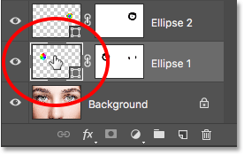 Double-clicking the Shape thumbnail for the other eye. Image © 2016 Photoshop Essentials.com.