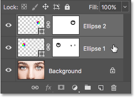 Selecting both Shape layers at once. Image © 2016 Photoshop Essentials.com.
