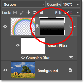 The layer mask thumbnail showing the two combined gradients. Image © 2016 Photoshop Essentials.com.