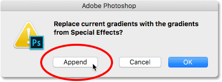 Clicking the Append button. Image © 2016 Photoshop Essentials.com.