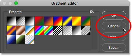 Clicking the Cancel button to close the Gradient Editor. Image © 2016 Photoshop Essentials.com.
