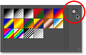Clicking the gear icon in the Gradient Editor. Image © 2016 Photoshop Essentials.com.