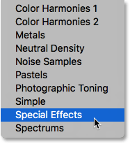 Selecting the Special Effects gradient set. Image © 2016 Photoshop Essentials.com.
